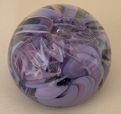 CHRIS BELLEAU Signed/Dated 1994 Lavender Swirls Art Glass Paperweight