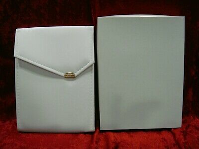 x18 White Leatherette Necklace Folders Pearl Display Presentation w/ Outer Box