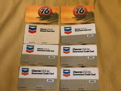 Lot of 8 Vintage Credit Cards Oil & Gas Chevron Union 76 1978 79 80 81 82