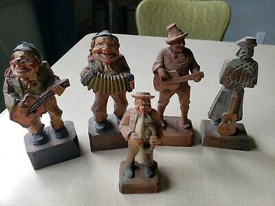 Vintage Lot of 5 Hand Carved Wooden Musicians Playing Guitar Banjo Horn Figures
