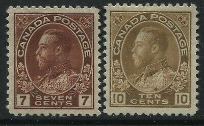 Canada KGV 1924-25 7 and 10 cents Admirals unused no gum