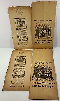 4 Antique General Store Paper Bags X-Ray Stove Polish & Stovene Cast Iron Stove