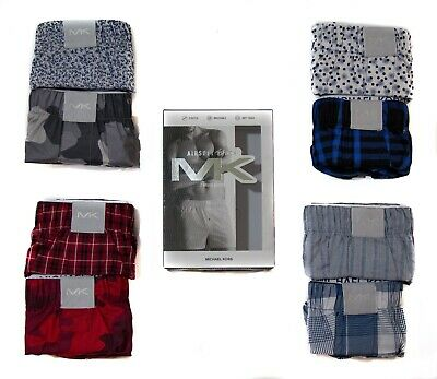 Michael Kors MK Mens Boxers 2 Pack - Airsoft Touch Woven Cotton - Size M L XL