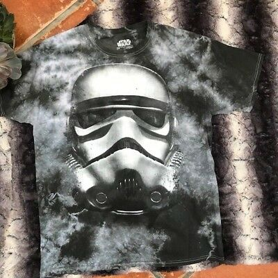STAR WARS Large L Tie-Dye Distressed STORM TROOPER GRAY T-SHIRT Disney NICE
