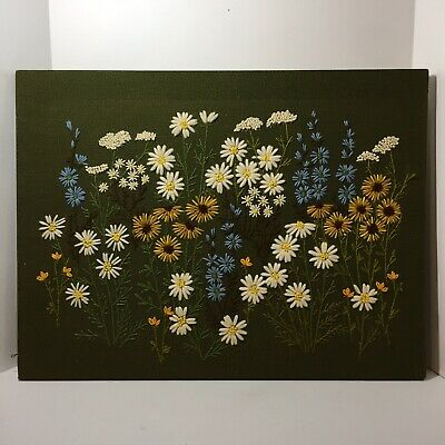 """Wildflowers Finished Crewel Embroidery 18"""" x 23.5"""" Stretcher Bars"""