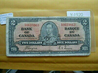Banknote Canada 1937 2  Dollar Value 35.00   Y1920