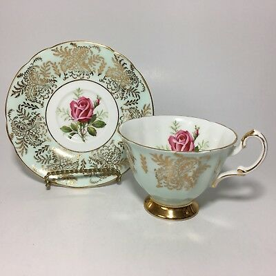 Paragon Red Rose Teacup And Saucer Gold By Appointment Bone China England Cup