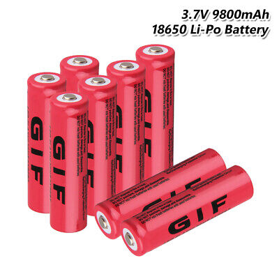 18650 Battery Rechargeable 3.7V 9800mAh Li-ion Cell For Headlamp Torch 8Pcs 33B