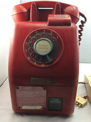 Original Red Public Payphone and Extension Cord – Rare