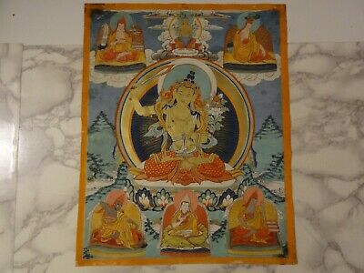 Antique Mongolian Buddhist Thangka Painting Of A Manjushri