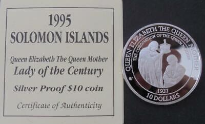 1995 Solomon Islands Queen Mother Proof Silver $10 Crown Coin With COA 1 oz