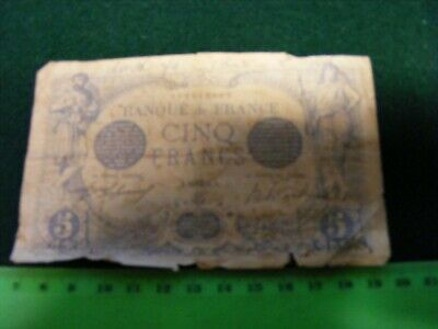 FRANCE BANKNOTE 5 Francs 1916 ...well used but scarce note.