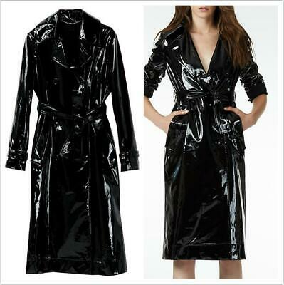 4846a3d22 FASHION WOMENS PATENT Leather Trench Coat Cosplay Motorcycle Jacket ...