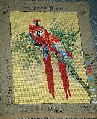 Tapestry Canvas Completed Collection D'Art Macaw Parrot 10214