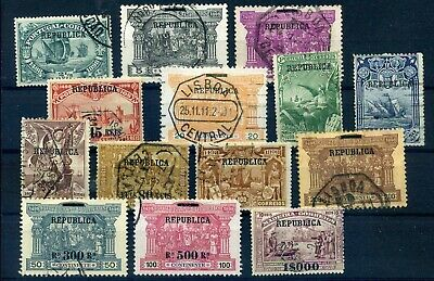 Portugal 1911 Republica set used (1000R MH) high cat val
