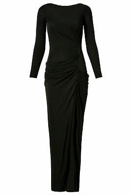 Badgley Mischka Black Ruched Long Sleeve Women's US Size 2 Gown Dress $935- #395