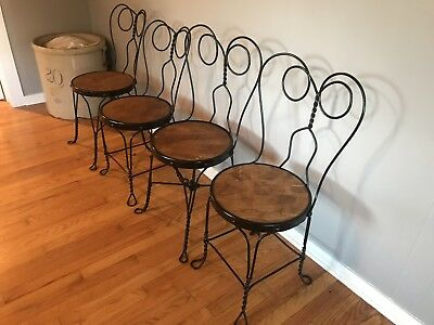 Antique Ice Cream Parlor Chairs. Metal and Wood Chairs Set Of 4