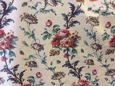 """FLORAL CURTAIN FABRIC 10m Traditional BEAUMONT & FLETCHER """"Climbing Poppies"""""""