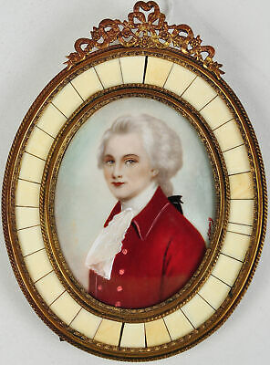 Antique Hand Painted Signed Portrait Miniature of Mozart in Metal Frame Composer
