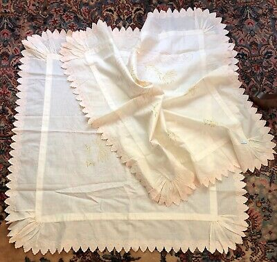 Two Antique Embroidered Pillow Coverlets Layover Pillowcases Eyelet Edging