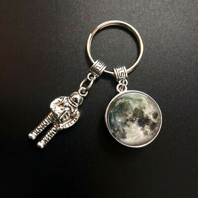 Full Moon Space Lunar Image Keychain, Silver Astronaut Pendant Science, Planet