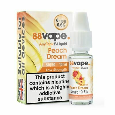 88VAPE VALUE Pack of 20 E-Liquids PEACH DREAM 6mg BULK BUY MADE IN THE UK