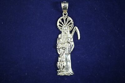 10K YELLOW GOLD Santa Muerte Grim Reaper Death Diamond Cut Charm