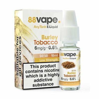 88VAPE VALUE Pack of 20 E-Liquids BURLEY TOBACCO 6mg BULK BUY MADE IN THE UK