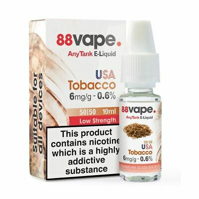 88VAPE VALUE Pack of 20 E-Liquids USA TOBACCO 6mg BULK BUY MADE IN THE UK