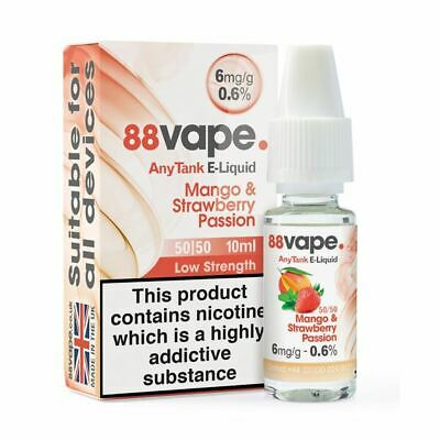 88VAPE VALUE Pack of 20 E-Liquids MANGO STRAWBERRY PASSION 6mg BULK BUY