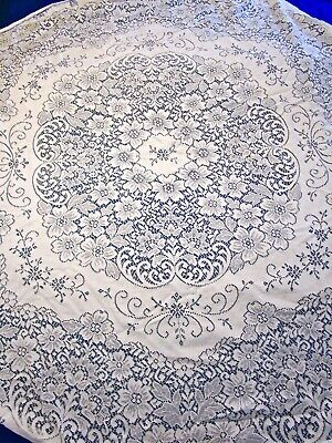"""Vintage Quaker Lace Table Cloth Topper Round White Floral Swirls 66"""" Vgc"""