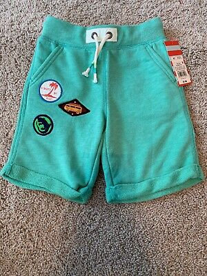 Cat And Jack Toddler Boy Turquoise Blue Shorts Patches Size 5t Nwt