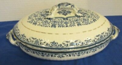 Antique Minton China Moustiers Covered Oval Serving Dish Blue & White