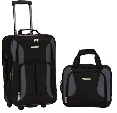 Rockland Luggage 2 Piece Set, Black/Gray, One Size, 2  Wheels, Travel, Airlines