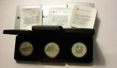 1984 1987 1988 (3) Canada Silver Commemorative Dollar Coins in orig cases