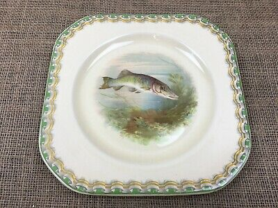 """Vintage Woods Ivory Ware British Freshwater Fish """"Pike"""" Plate"""