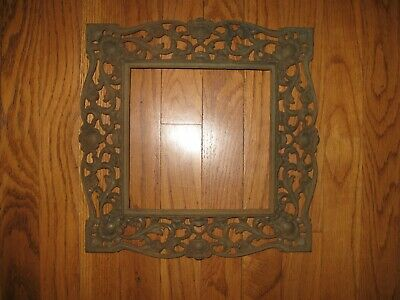 "Antique Ornate Cast Iron Grate Frame ? Art Steampunk Repurpose 13"" Hardware"