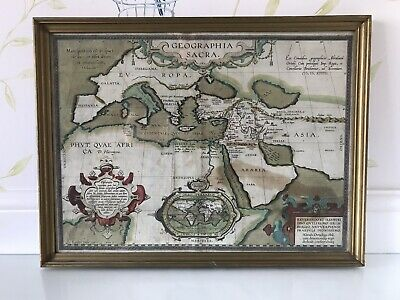Antique Map Abraham Ortelius, Engraved Hand Coloured - Geographia Sacra