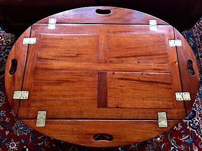 Antique Mahogany English Butler's Table - Coffee Table c. 1900 - Signed by Maker