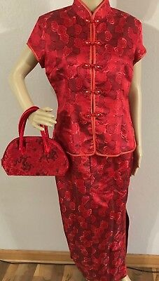 Beautiful Red Oriental Chinese Women's Outfit and Dragon Purse XL (runs small)