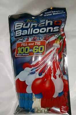 nip-Zuru Bunch O Balloons 100 Self Sealing Water Instant Party Game-/Red/Wh/Blue