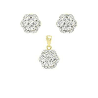 925 Sterling Silver Gold Finish Round Crystals Flower Pendant Stud Earrings Set
