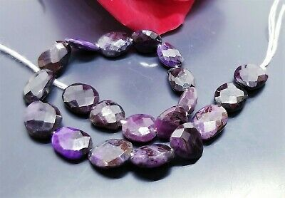 RARE NATURAL FACETED PURPLE AFRICAN SUGILITE NUGGET BEADS 8-10mm 40.85cts 7""