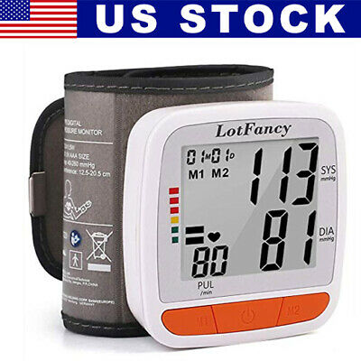 Automatic Blood Pressure Monitor BP Cuff Heart Rate Machine For All Size Wrist