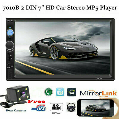 """7010B 2 DIN 7"""" HD Car Stereo MP5 Player Bluetooth Touch Screen+Free Rear Camera"""