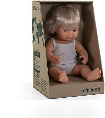 Miniland Baby Doll  Caucasian Girl 38cm Vanilla Scented Anatomically Correct