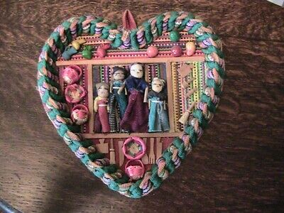 VINTAGE Mexican Hand-Woven Heart-Shaped Wall Hanging