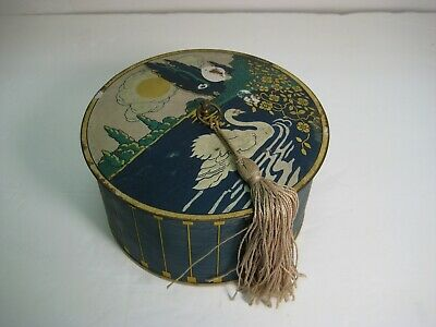 Face Powder Tin - 1920s Lithographed Antique - Swan and Lake