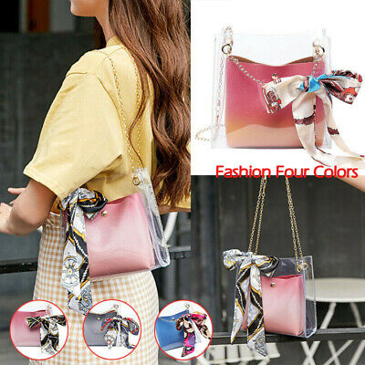 Transparent Chain Messenger Bag PU Leather Fashion Elegant Mother Shoulder Bag
