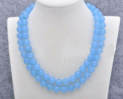 Natural 10mm Blue Chalcedony Gemstone Round Necklace 35 Inch AAA+